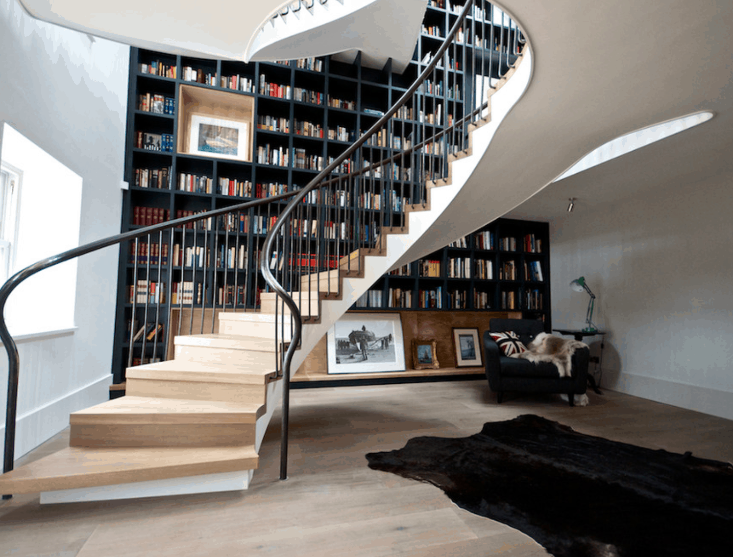 Swirling bookcase stairwell